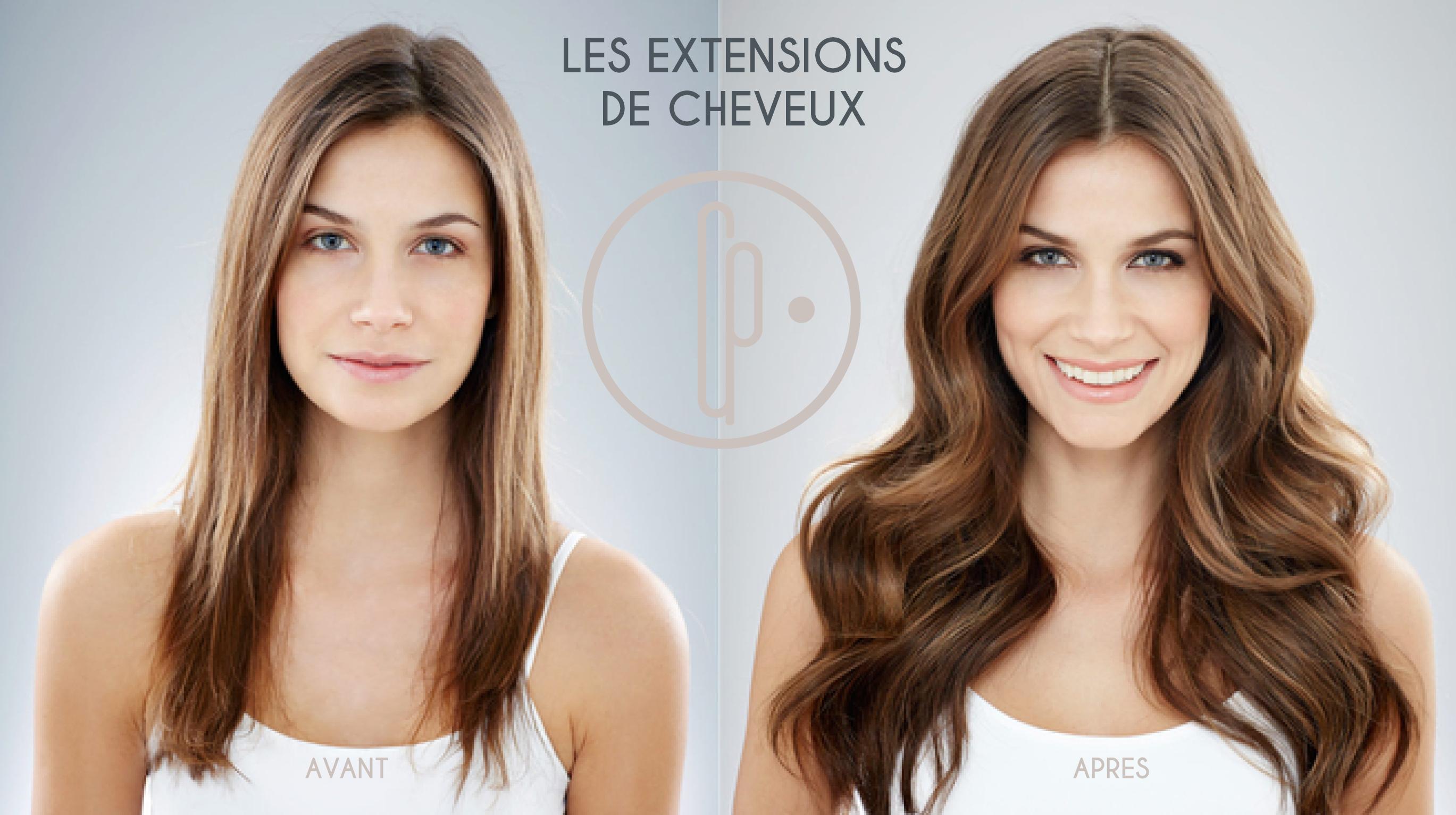 Extensions de cheveux avant-après